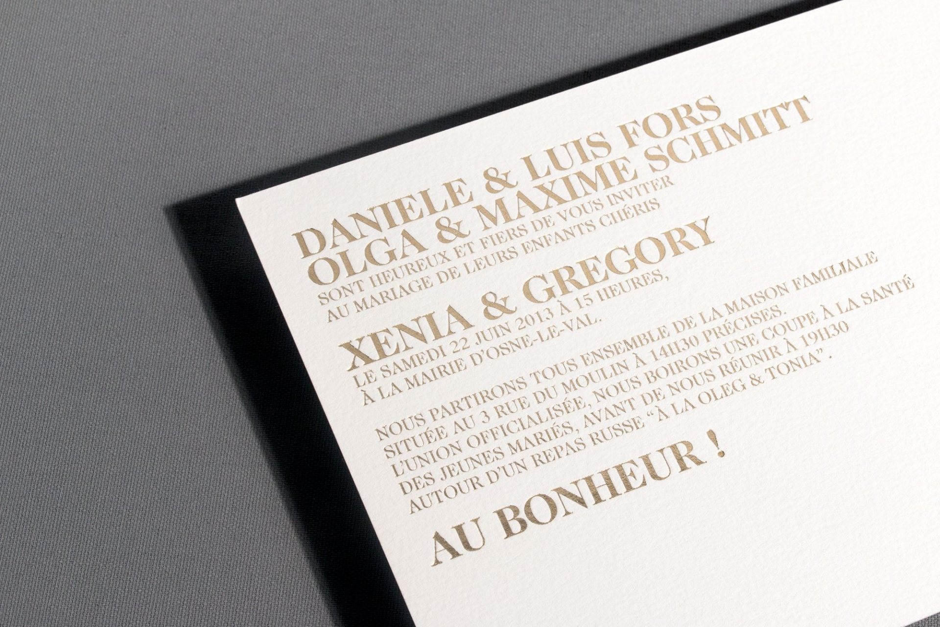 Vincent Chatelet X&G wedding invitation